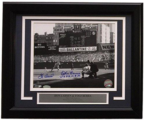 Yogi Berra Don Larsen Signed Autographed Framed 8x10 Yankees B&W Photo Inscribed Steiner - Certified (Don Larsen Autographed Photo)