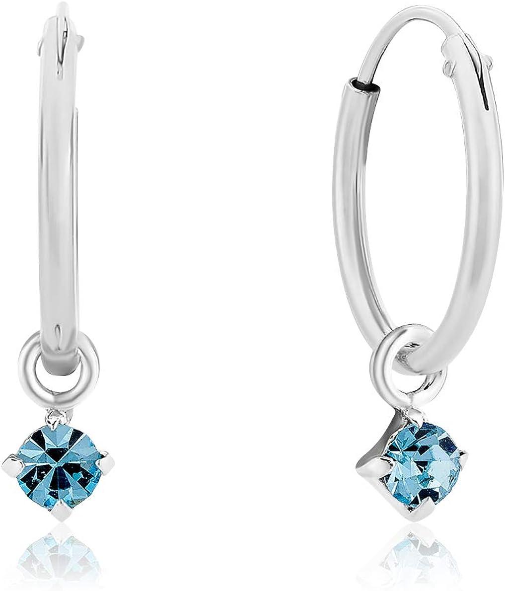 DTPSilver - Pendientes de aro pequeños y redondos con cristales de Swarovski, plata de ley 925, color aguamarina