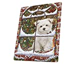 Please Come Home For Christmas Maltese Sitting In Window Art Portrait Print Woven Throw Sherpa Plush Fleece Blanket (60X80 Woven)