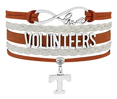 University of Tennessee Volunteers Infinity Silver Toned Sports Bracelet with UT Charm (Volunteers Tennessee Charm)