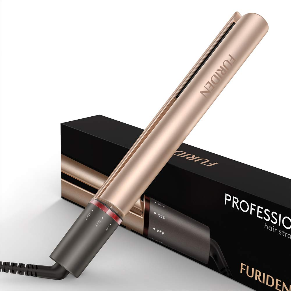 Professional Flat Iron Hair Straightener, FURIDEN Flat Irons for Thick Hair, Hair Straightener and Curling Iron 2 in 1 Gold