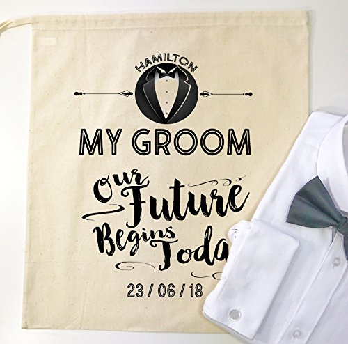 """Personalizzato sposi mattina camicia sacchetto regalo """"Our future Begins today '"""