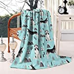 Unicorns Farting Siberian Husky Dog and Mountains Summer Thick Blanket Cozy Couch Warm Throw Blanket Flannel Fleece Blanket, 59 X 79 Inch 7
