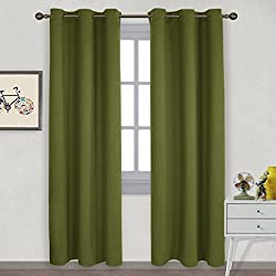NICETOWN Thermal Insulated Solid Grommet Blackout Curtains / Drape for Livingroom (One Pair,42 by 84-Inch,Olive Green)