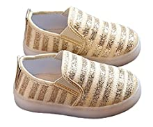 Otamise Girls' Light Up Sequins Shoes Slip-on Flashing LED Casual Loafers Flat Sneakers (Toddler/Little Kid) Gold US 11.5M