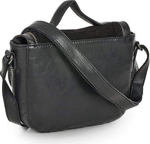 BECKSÖNDERGAARD, Damen Handtaschen, Umhängetaschen, Crossover-Bags, Crossbodys, Leder, Schwarz, 20,5 x 16,5 x 4 cm (B x H x T)