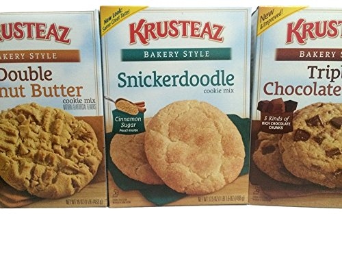 Krusteaz Bakery Style Cookie Mix, Double Peanut Butter, Triple Chocolate Chunk & Snickerdoodle (pack of 3)