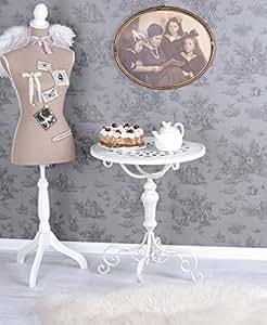 Mesa Auxiliar Shabby Chic Mesa Blanco Mesa de hierro Rendondo MESA de té vintage Palazzo EXCLUSIVAMENTE