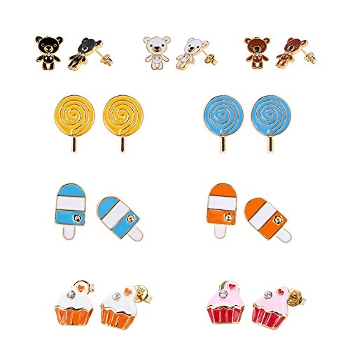 LEILE 9 Pairs 18K Gold Plated Red Blue Yellow White Black Cute Bears Lollipops Ice cream Cakes Post Stud Earrings Set for Kids girls Gold Tone Mix Mix (Plastic Yellow Earrings)
