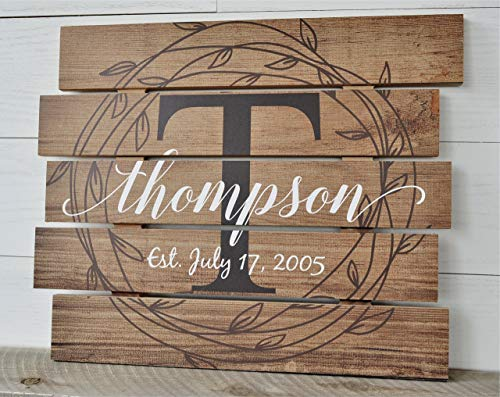 Personalized Family Name Sign Rustic Pallet Wood Monogram Wood 15x18 by MRC Wood Products
