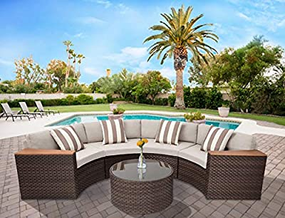 Solaura Outdoor Furniture Set 5-Piece Outdoor Half-Moon / 6-Piece Sectional Wicker Furniture Modular Sofa Set Brown Wicker Light Brown Cushions & Sophisticated Sector Glass Coffee Table by Solaura