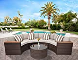 Solaura Patio Furniture Set 5-Piece Outdoor Half-Moon Crescent Sectional Furniture Set Brown Wicker with Light Brown Cushions & Sophisticated Glass Coffee Table