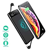 SANAG Wireless Portable Charger,10000mAh Wireless Charger Power Bank Built in Cable External Battery Pack Compatible with iPhone 8/8 Plus,Samsung S7 S8 S9,Note 7 8,iPhone X/XS/XR(Black)