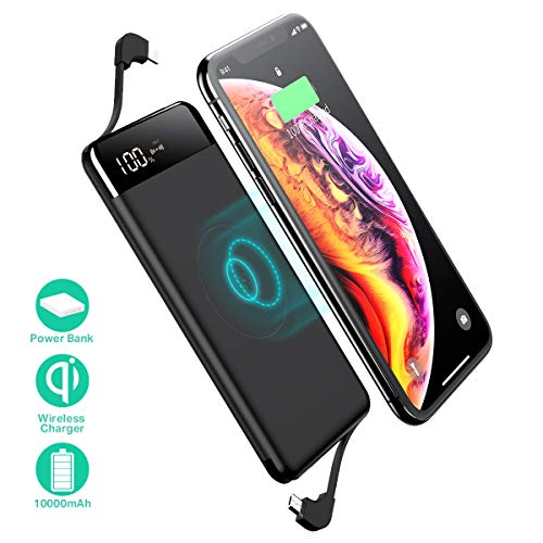 Sanag Wireless Portable Charger, 10000mAh Wireless Charger Power Bank Built in Cable External Battery Pack Compatible with iPhone 8/Plus, Samsung S7 S8 S9, Note 7 8, iPhone X/XS/Xr(Black)