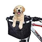 ANZOME Bike Basket, Folding Small Pet Cat Dog Carrier Front Removable Bicycle Handlebar Basket Quick Release Easy Install Detachable Cycling Bag Mountain Picnic Shopping …