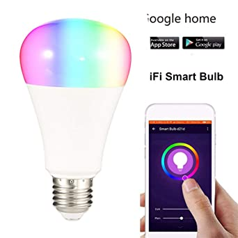 Bombilla de luz inteligente WOSBE Wifi E27, 7W, aplicación de luz de bombilla wifi