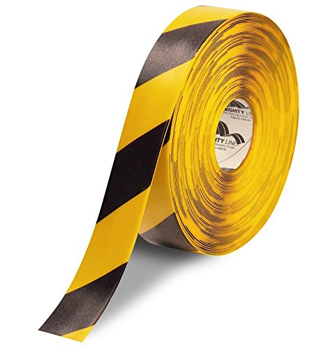 Mighty Line Diagonal Floor Tape 2 inch Yellow/Black 100' Roll ()