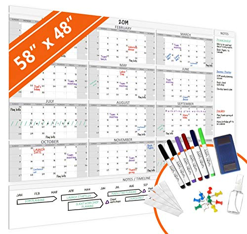 "HEA Large Dry Erase Wall Calendar 2020 58"" x 48"" 