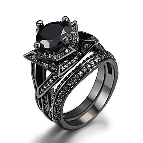 FENDINA Womens Luxurious Black Gold Plated Wedding Engagement Ring Vintage Black Cubic Zirconia Solitaire Anniversary Promise Rings Set