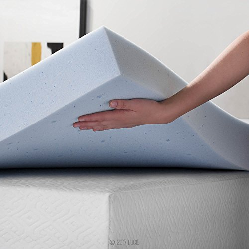 LUCID 4 Inch Gel Memory Foam Mattress Topper-Ventilated Design-Ultra Plush-Queen