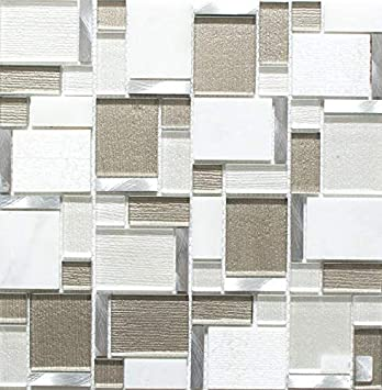 Mosaic Tiles Aluminium White Light Beige Glass Mosaic Crystal For Wall Mounted Bathroom Toilet Shower Kitchen Tiles Mirrors Counter Cover Bath Panel Mosaic Mat Mosaic Panel Amazon De Baumarkt