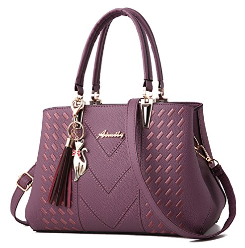 Handle Bags Women Purple Messenger Shoulder Tote Top Satchel Gray Bag Purse Handbags Seaoeey gEvwfqxf