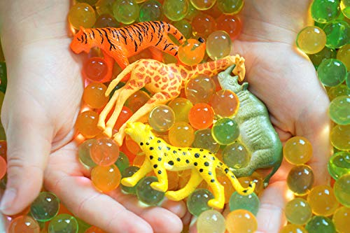 SENSORY4U Dew Drops Water Beads African Safari Tactile Sensory Toys Bin Kit - Unique Toy Animals -