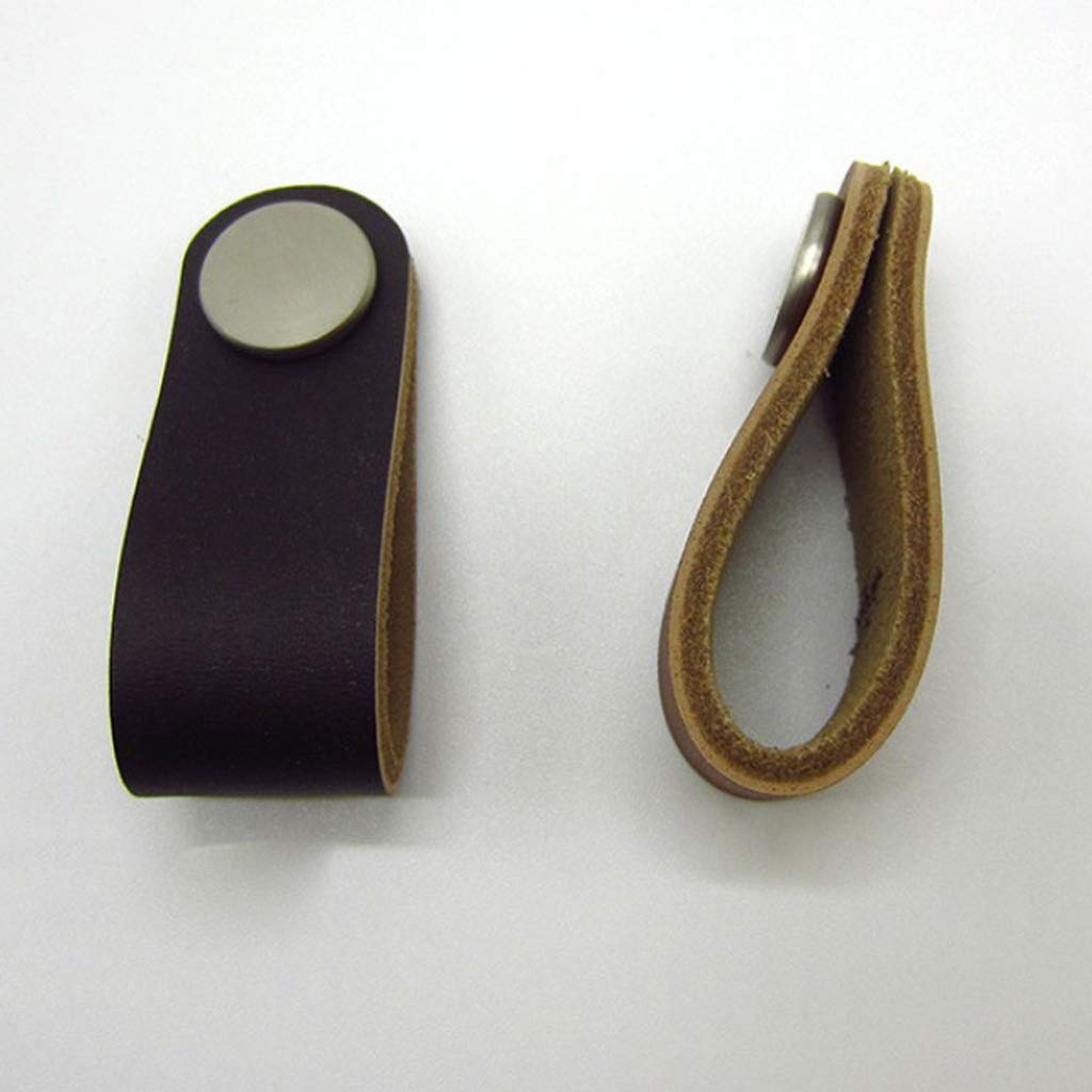 FLAMEER 5x Moderne Design M/öbelgriff Ledergriff Knopf Schrankgriff Lederschlaufe Griff Braun