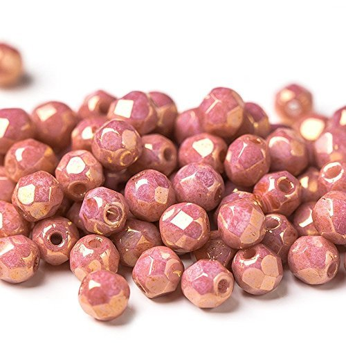 60 pcs 4 mm Czech Fire Polished Faceted Round Glass Bead, Golden Pink