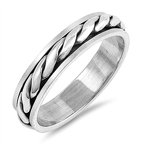 CloseoutWarehouse Sterling Silver Twisted Band Spinner Ring Size 10 ()
