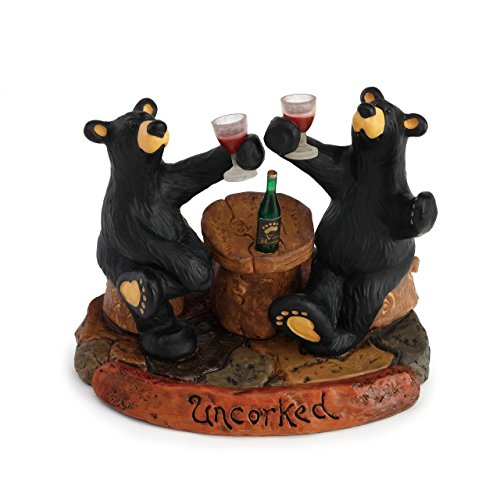 DEMDACO Uncorked Black Bear 5 x 6 Hand-cast Resin Figurine Sculpture ()