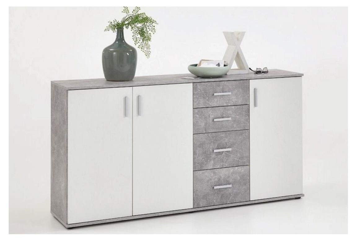 SlumberHaus Urban Large White and Grey Stone Concrete Sideboard Cabinet FMD