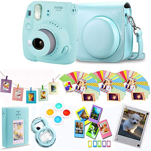 Fujifilm Instax Mini 9 – Ice Blue Instant Camera + Protective Case + Magnetic Acrylic Frame+Album, Hanging Frames, Desk Frames, Filters & Selfie Lens 90 PC Design Kit