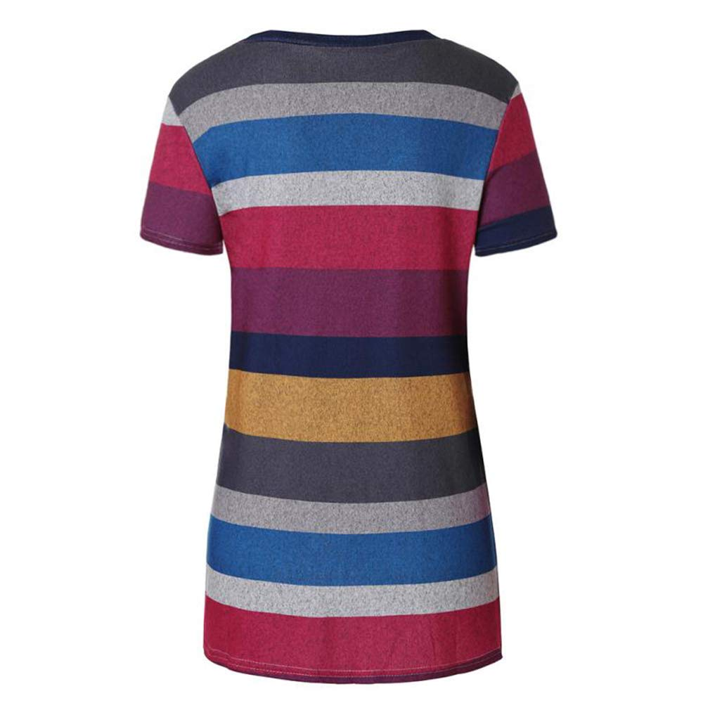 Eanklosco Women\'s Tops Striped T-Shirts Front Knot Tunic Casual Blouses Short Sleeve (XXL/UK 16, Red)