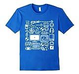 Mens Gamer T-Shirt: Retro Gaming Old-School Vintage Computers Small Royal Blue