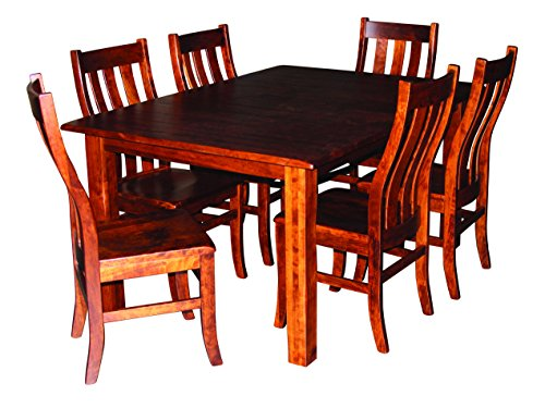 Furniture Room Dining Amish Made - Cherry Wood Dining Room Table 8 Side Chairs, Solid Hardwood Amish Made Heirloom Diningroom Furniture, Heirloom Craftsmanship for Generations, White Glove Delivery, Expands With 2 Leaves, 42 x 60