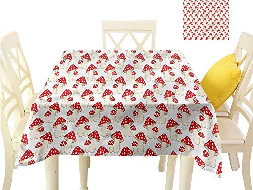 (WilliamsDecor Non Slip Tablecloth Mushroom,Cartoon Style Amanita Wrinkle Free Tablecloths W 36