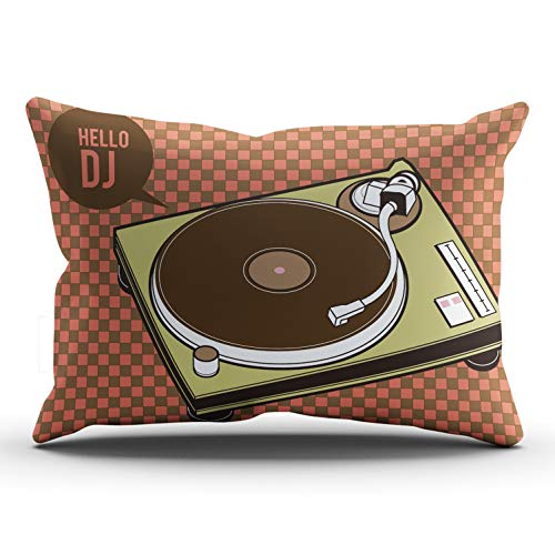 AIHUAW Home Decorative Cushion Covers Throw Pillow Case Turntable Hello Dj Pillowcases Lumbar 12x24 Inches One Sided Printed (Set of 1)