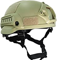 H World Shopping MICH 2002 Combat Protective Helmet with Side Rail & NVG Mount for Airsoft Tactical Milita