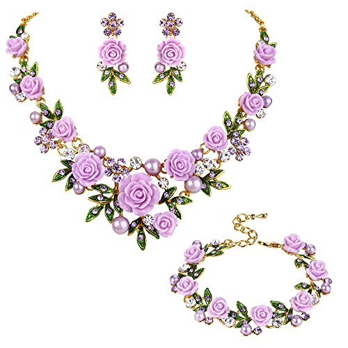 EVER FAITH Crystal Simulated Pearl Rose Flower Leaf Necklace Earrings Bracelet Set Purple Gold-Tone