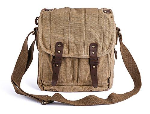 Gootium Vintage Canvas Messenger Bag Small Unisex Shoulder Satchel, Khaki