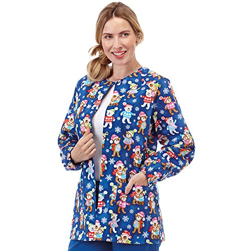 Bio Women's Raglan Sleeve Snap Front Holiday Bear Print Scrub Jacket X-Large Print ()