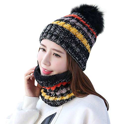 Home Prefer Womens Cuffed Beanie Winter Hat Warm Knit Cap with Fleece Lining Neck Warmer Black