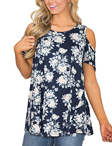 Lookbook Store Womens Navy Blue Floral Print Cut Out Shoulder Short Sleeve Top Blouse Shirt Size L