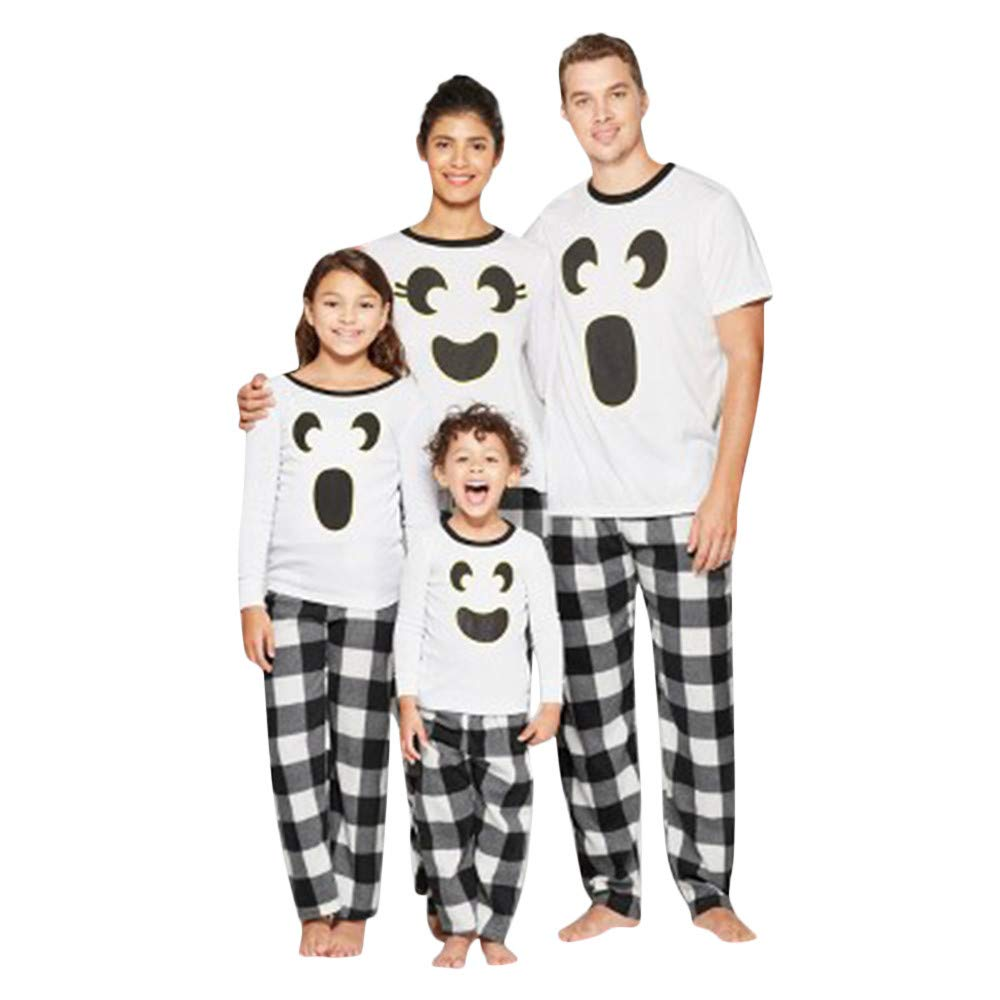 Felicy Women Men Boys Girls Tops Blouse Pants Family Matching Pajama Set Sleepwear Halloween Plaid Outfits Set
