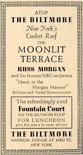 Biltmore Five Light (1936 Ad Biltmore Moonlit Terrace Russ Morgan Orchestra - Original Print Ad)