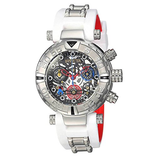 Invicta Women's 'Disney Limited Edition' Quartz Stainless Steel and Silicone Casual Watch, Color:White (Model: 24515)