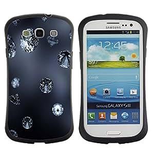 Fuerte Suave TPU GEL Caso Carcasa de Protección Funda para Samsung Galaxy S3 I9300 / Business Style Diamond Blue Rain Jewel Bling Grey Autumn Nature