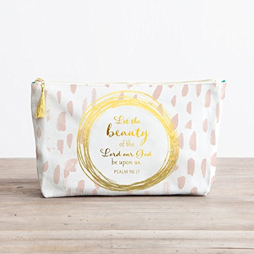 Canvas Pouch with Tassel Zipper Pull - Let the Beauty of the Lord Our God