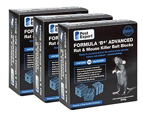 Pest Expert Formula 'B+' Rat Killer Poison Bait Blocks 900g (3 x 300g)